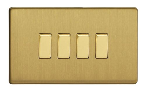 Varilight XDB9S Screwless Brushed Brass 4 Gang 10A 1 or 2 Way Rocker Light Switch